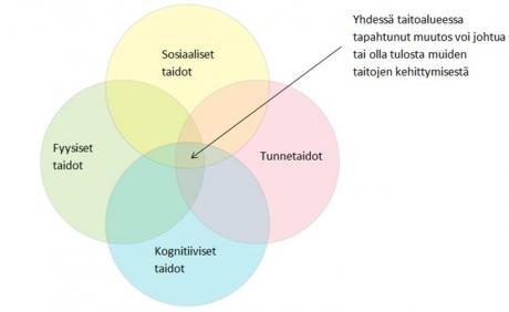 Neljä eriväristä ympyrää osittain päällekkäin. Ympyröiden sisällä lukee tekstit: Sosiaaliset taidot, Fyysiset taidot, Tunnetaidot, Kognitiiviset taidot.