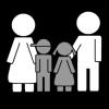 Piirroskuvassa kaksi aikuista ja kaksi lasta.