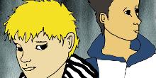 Piirroskuvassa vaalea- ja tummahiuksinen poika