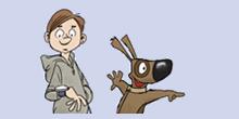 Piirroskuvassa iloinen koira ja huppariin pukeutunut poika, joka katsoo rannekelloaan.