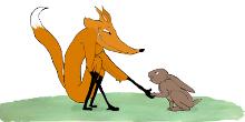 Piirroskuva ketusta ja jäniksestä lyömässä kättä päälle.