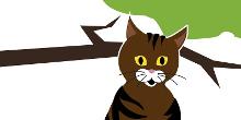 Piirroskuva kissasta, joka istuu puussa.