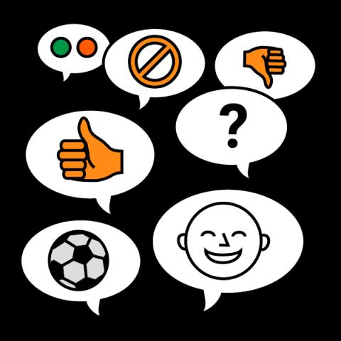 Piirroskuvassa on poika ja puhekuplissa jalkapallon kuva, sekä oman mielipiteen kertomiseen liittyviä asioita. Puhekuplissa on peukalo alaspäin ja ylöspäin sekä punainen ja vihreä valo.
