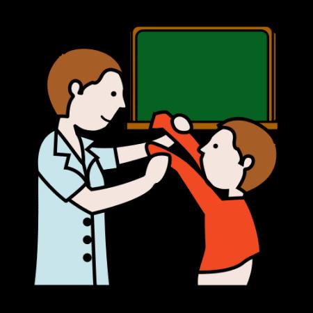 Piirroskuvassa on taustalla koulun taulu. Aikuinen avustaa lasta pukeutumisessa.