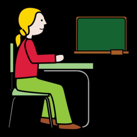Piirroskuvassa tyttö istuu pulpetissa. Taustalla on koulutaulu.