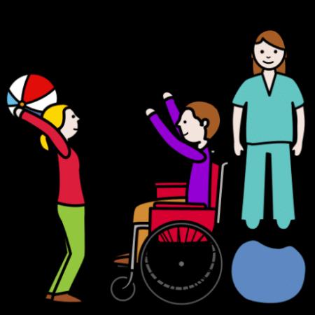 Piirroskuvassa kaksi lasta heittävät palloa. Toinen käyttää pyörätuolia. Taustalla on aikuinen ohjaamassa.