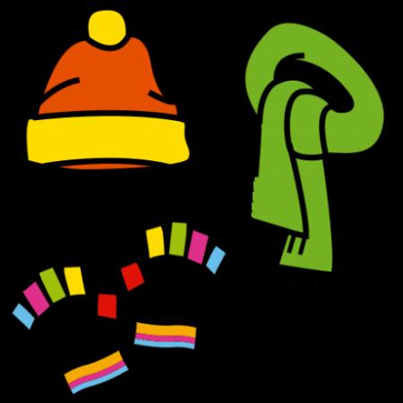 Piirroskuvassa on värikkäät pipo, kaulaliina ja hansikkaat.