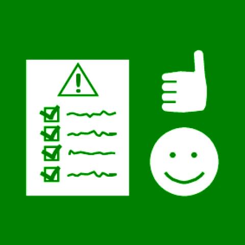 Sclera-piirroskuva. Säännöt, hymynaama ja peukalo osoittamassa ylöspäin kuvaamassa onnistumista.