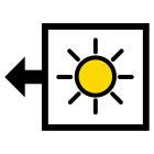 kuvasymboli, jossa aurinko ja nuoli vasemmalle