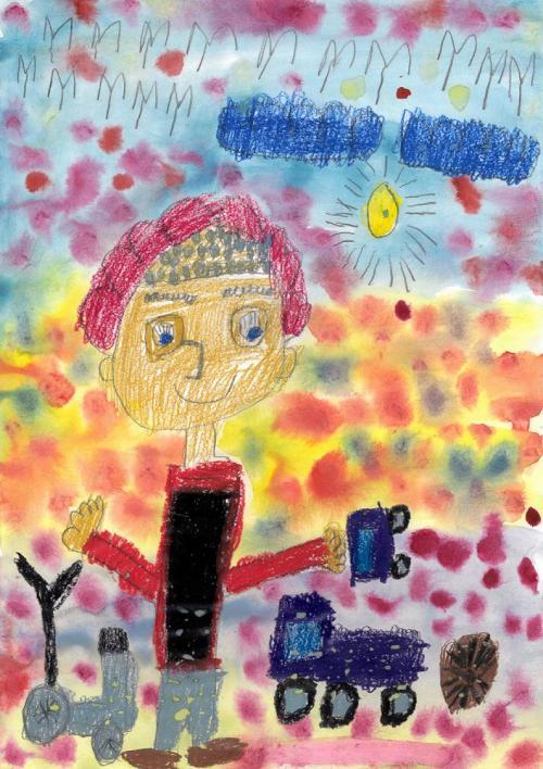 Värikkäässä kuvassa lapsi ja leluja.