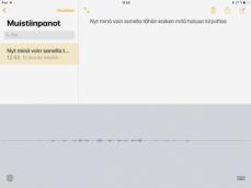 näkymä iPadin muistiinpanot sovelluksesta, johon tekstiä syötetään puhumalla.