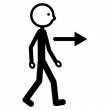 Bildsymbol på en figur som vandrar.