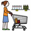 Bildsymbol där en kvinna skuffar en butikskärra i butiken.