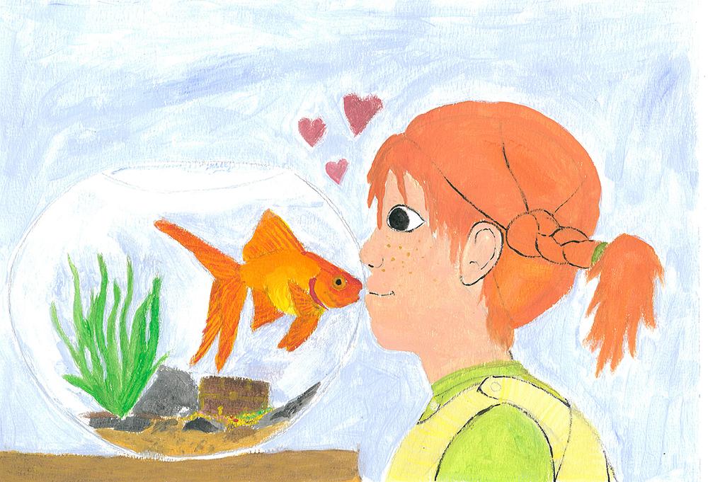 Saparopäinen lapsi suukottaa altaassa olevaa kultakalaa.