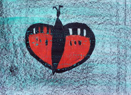 piirretty punasiipinen hyönteinen sinivihreällä taustalla.