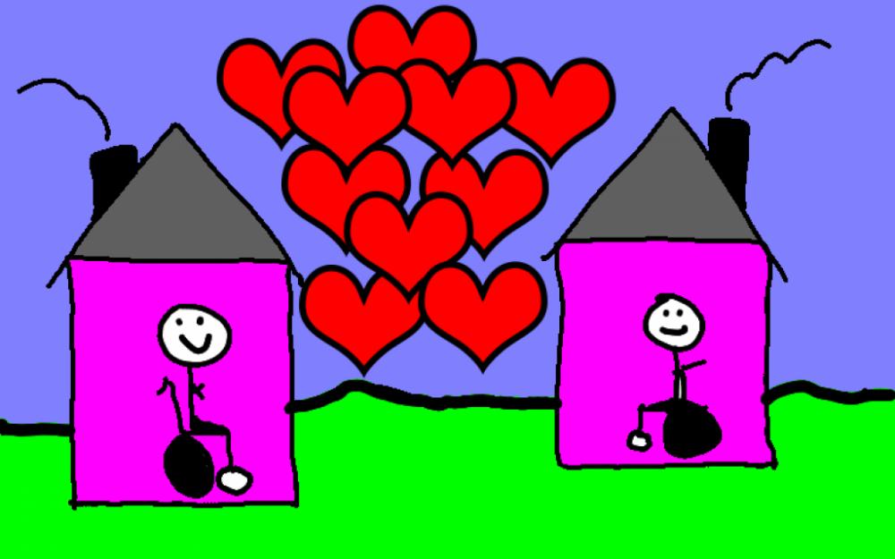Piirustus jossa kaksi taloa, joissa asukkaita ja taljen välissä sydämiä