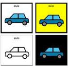 Erilaisia piirroskuvia autosta