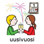 Kaksi ihmistä skoolaa laseilla, taustalla ilotulitteita.
