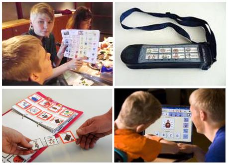 avustaja osoittaa kommunikointikuvasta, puhelaite, ilmaisu irtokuvilla ja tietokoneella