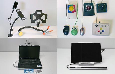 kuvassa kiinnitystelineitä, erilaisia hiirimalleja ja painikemalleja sekä katseohjaslaite
