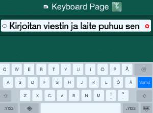 näkymä iPadissa toimivasta kommunikointiohjelmasta, joka muuntaa tekstin puheeksi