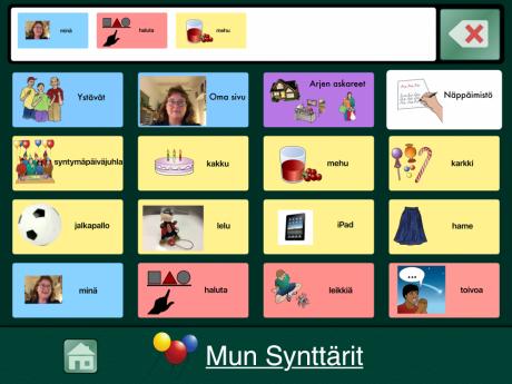 Näkymä iPadin kommunikointiohjelmasta, jossa kuvaviesti on koottu viestiriville.