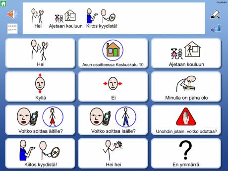 Näkymä WidgitGo-kommunikointiohjelmalla tuotetusta viestistä.