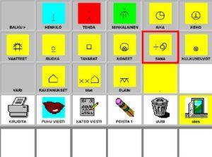 En vy av ett kommunikationsprogram med bliss-symboler och av markören som skannar meddelandemenyn.