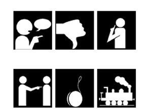 Svartvita pictobilder av saker och föremål.