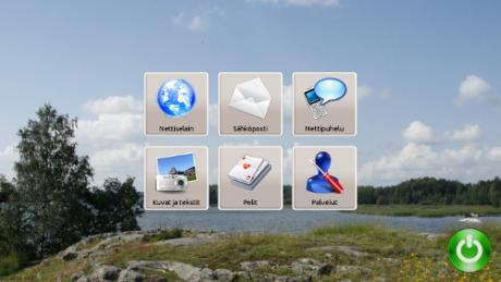 tietokoneen näyttö, jossa seniorin tarvitsemat ohjelmat helposti avattavissa.