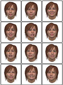 Ett rutsystem med tecknade bilder på ansiktsuttryck.