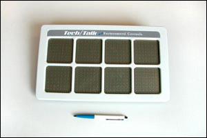 Ympäristönhallintaan tarkoitettu puhelaite, laitteessa on kahdeksan viestiruutua