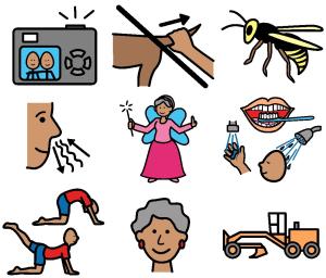 PCS-bilder i färg om saker, människor och föremål.