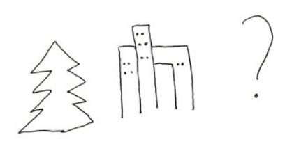 ääriviivapiirrokset kuvista kuusipuusta, kerrostalosta ja kysymysmerkikstä