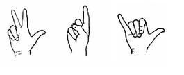 Tre olika handformer i teckenspråk.