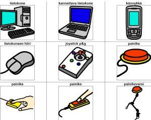 ruudukko, jossa piirroskuvia tietokoneen käytön apuvälineistä