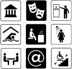 Ett rutsystem av symboler över ämnen som handlar om tillgänglighet.