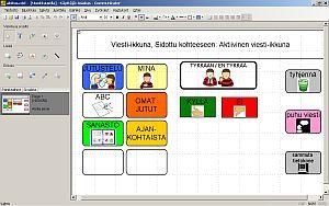 Vy över Tobii Communicator 4 -programmets kommunikationsapplikation.