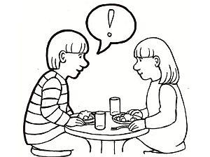 piirroskuva tytöstä ja pojasta keskustelemassa ruuan äärellä