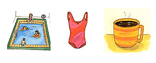 Färgbilder på simbassäng, simdräkt, kaffekopp.